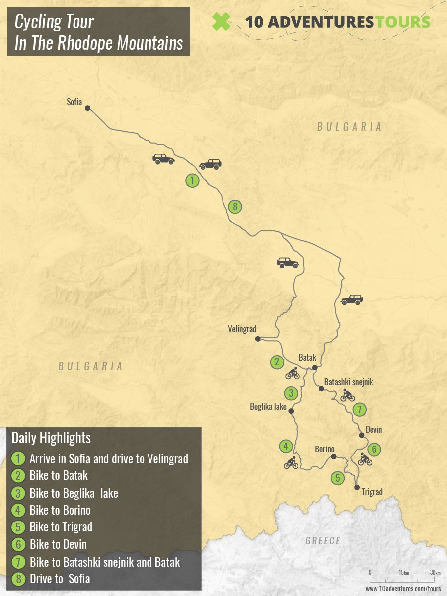 Map of Highlights Of The Cycling In The Rhodope Mountains Tour in Bulgaria