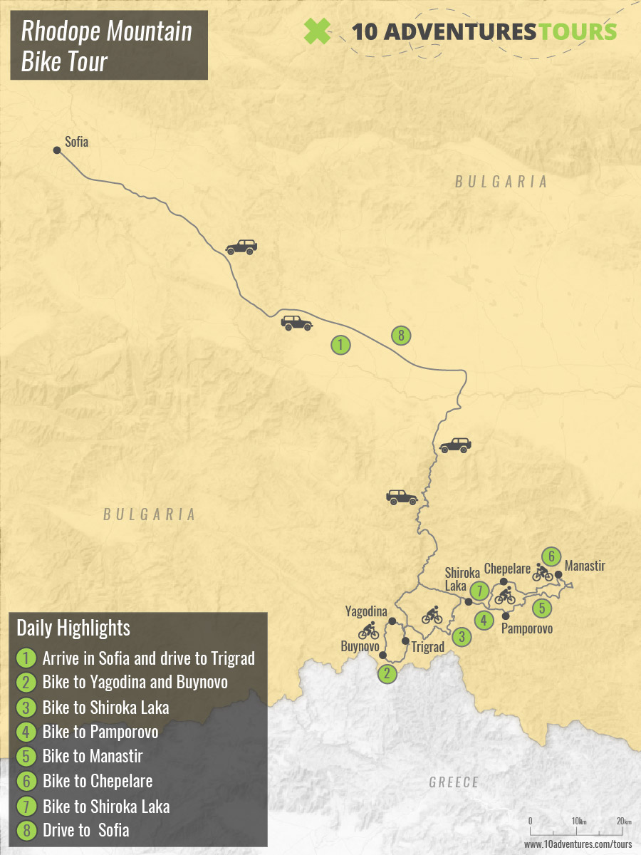 Map of Rhodope Mountain Biking Tour in Bulgaria with a guide