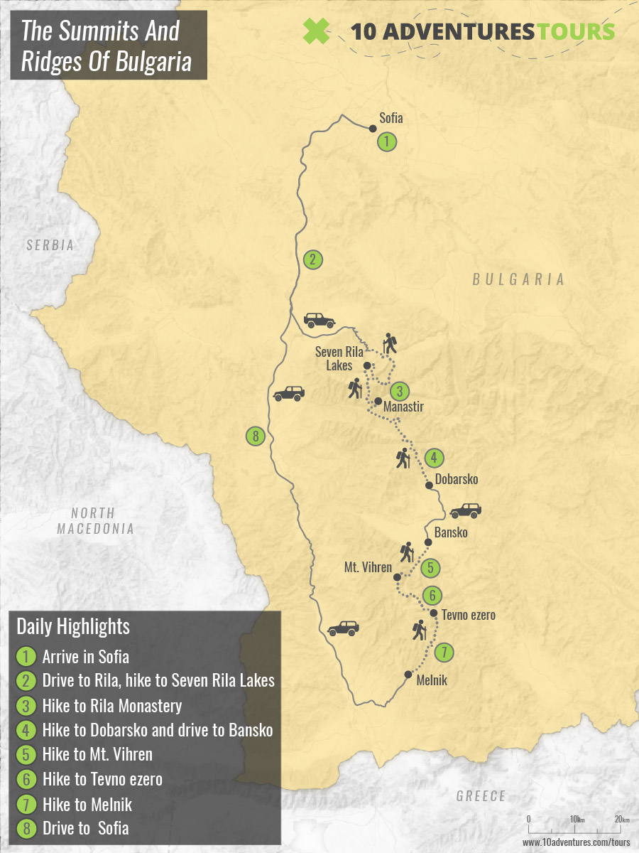 Map of Grand Tour of Bulgarian Mountains trek