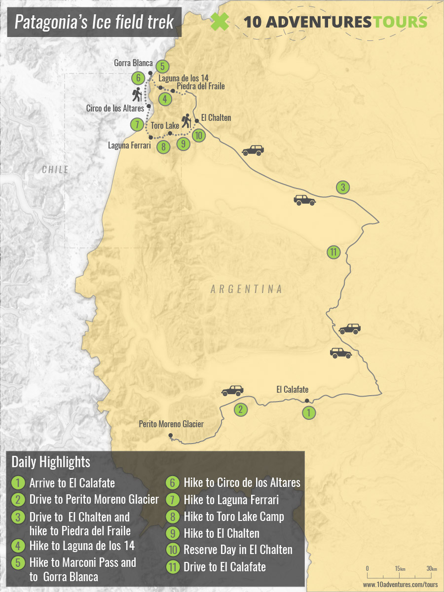 Map of Patagonia's Icefield Trek with guided group in Argentina