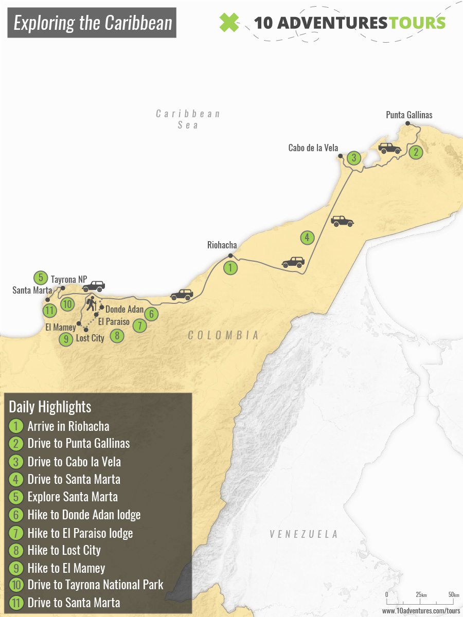 Map of tour in Caribbean Coast of Colombia including Lost City Trek