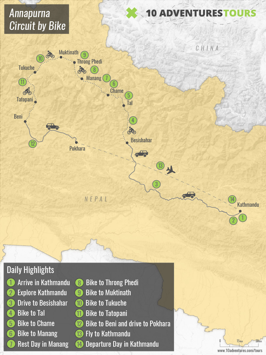 Map of Annapurna Circuit by Bike tour in Himalayas, Nepal