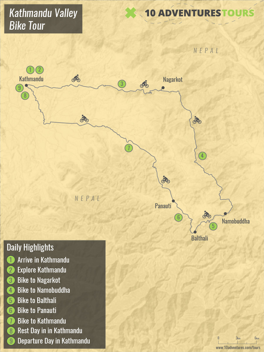 Map of guided Kathmandu Valley Bike Tour in Himalayas, Nepal