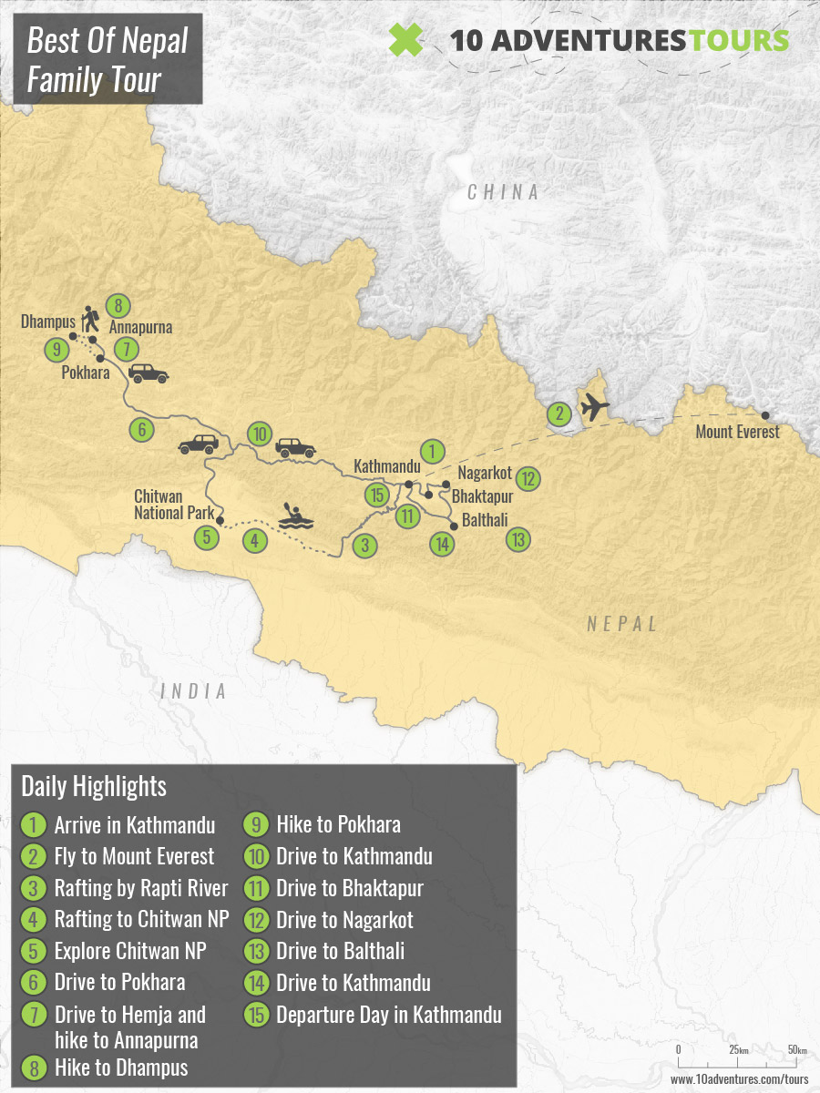 Map of Best of Nepal Family Tour in Nepal with the best views of the surrounding Himalaya Mountains