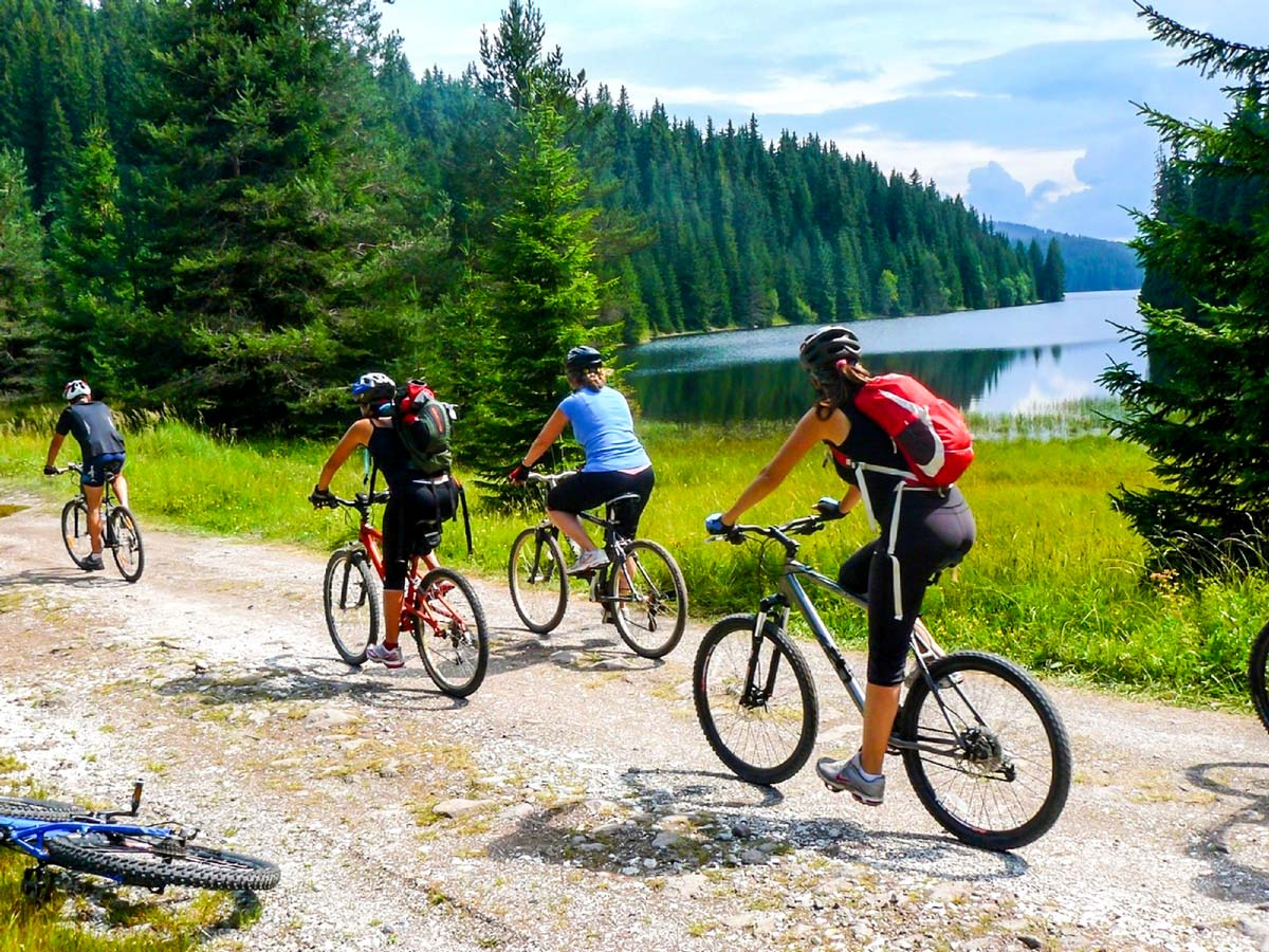 Rhodope Cycling tour in Bulgaria includes cycling along the coast of Beglika Lake on day 3