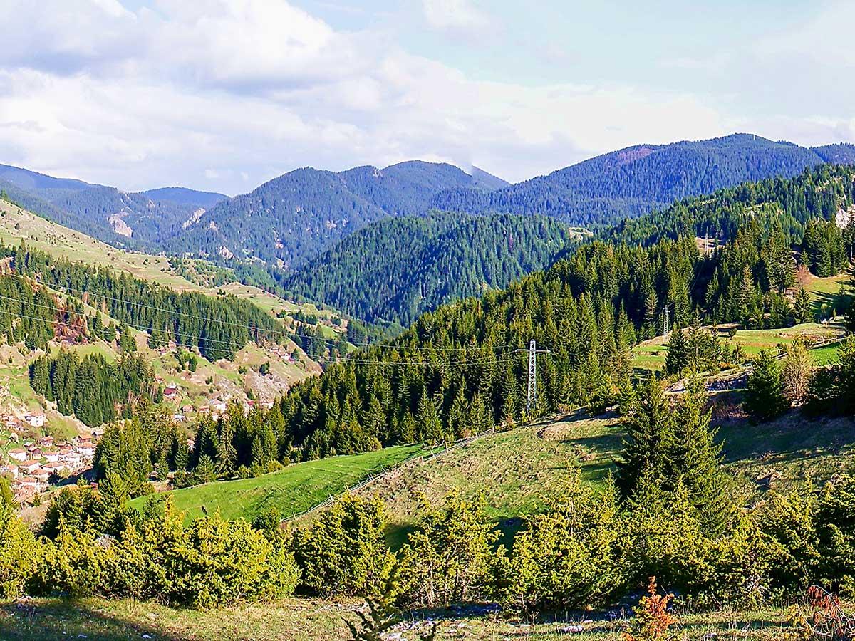 Panorama of Mugla village on day 3 of Rhodope Mountain Biking Tour