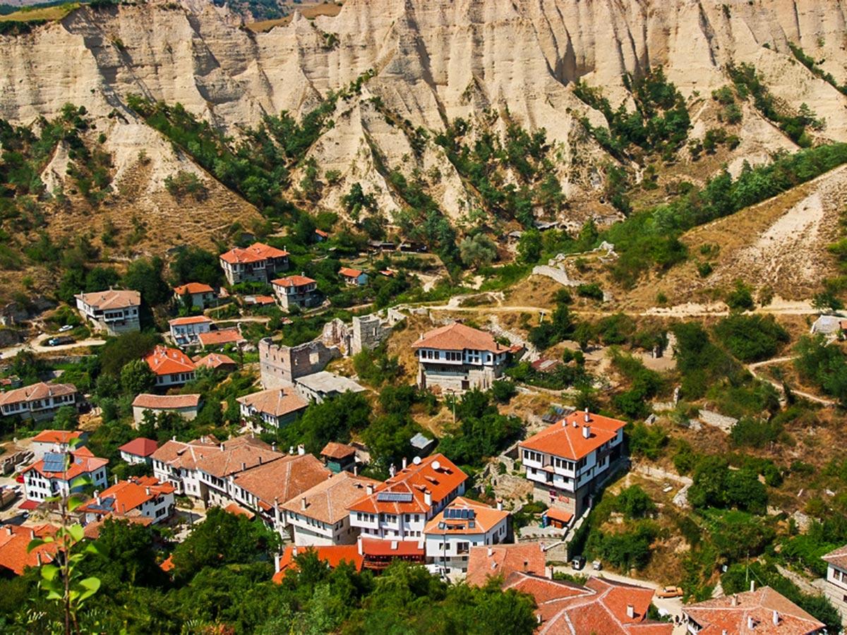 Visiting Melnik on day 8 of trekking tour in Bulgaria