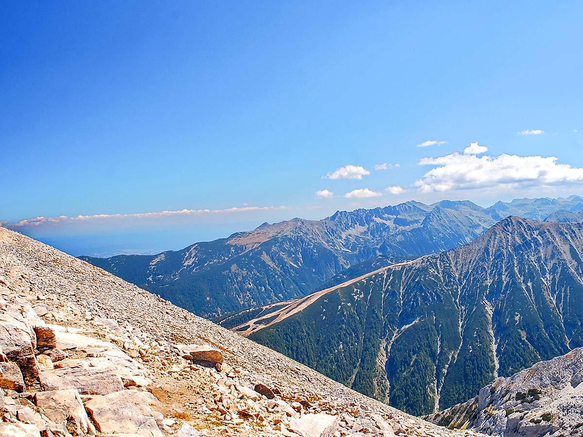 Panorama from Vihren summit in Pirin on day 5 of Rila and Pirin Trek in Bulgaria