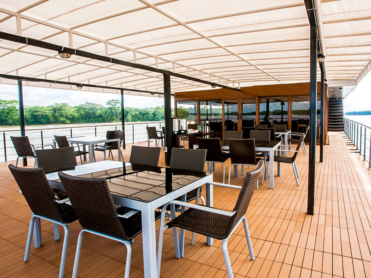 Beautiful top deck of the cruise ship on Anakonda River Cruise Tour in Ecuador