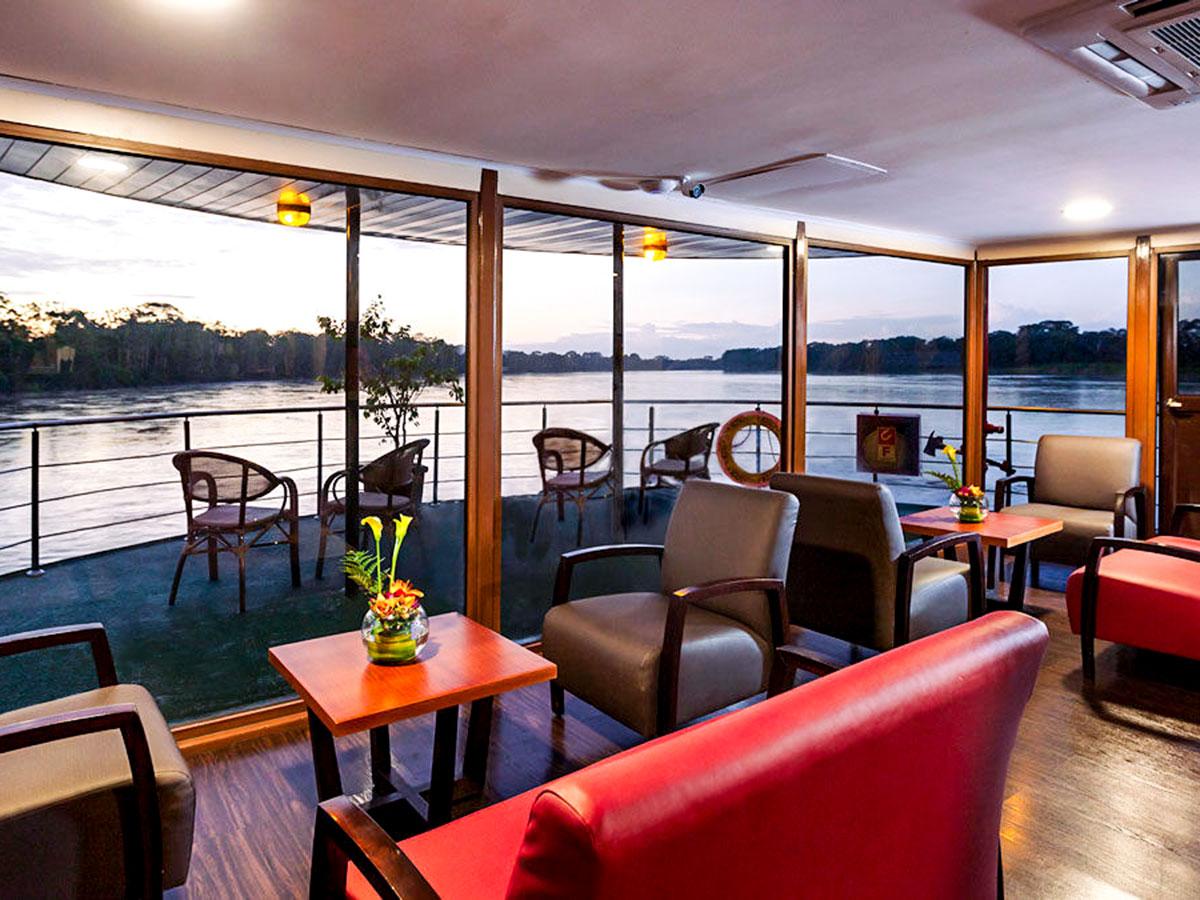 Lounge with a beautiful view on Anakonda River Cruise in Ecuador Galapagos