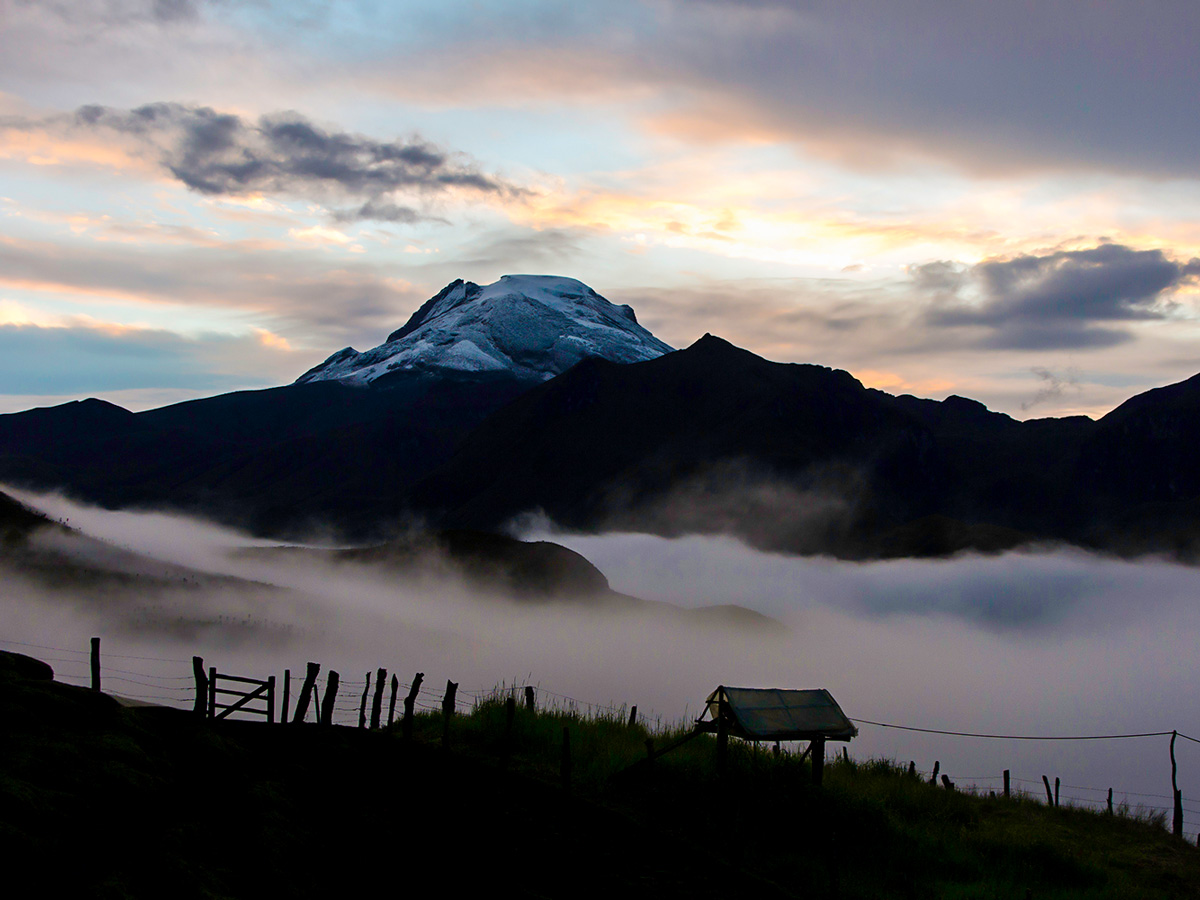 Snowy peak seen on Colombia Off Road Trek