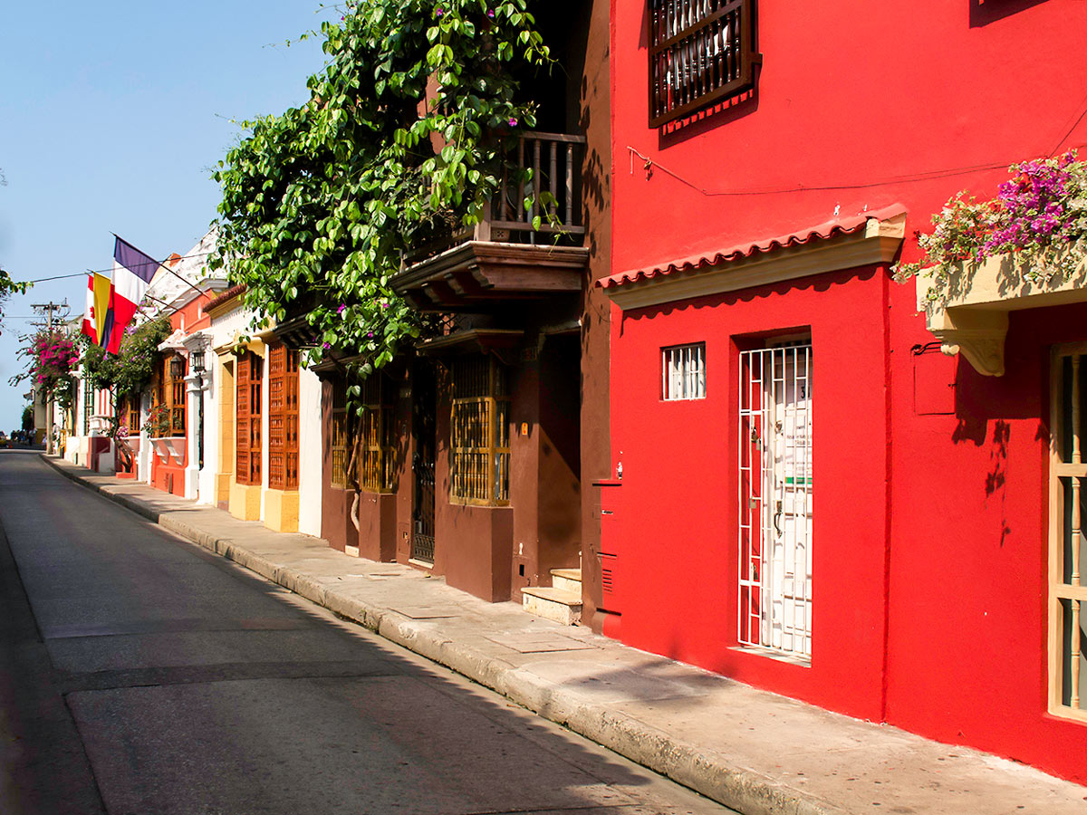 Cozy town streets on the beginning of the Lost City Trek in Colombia