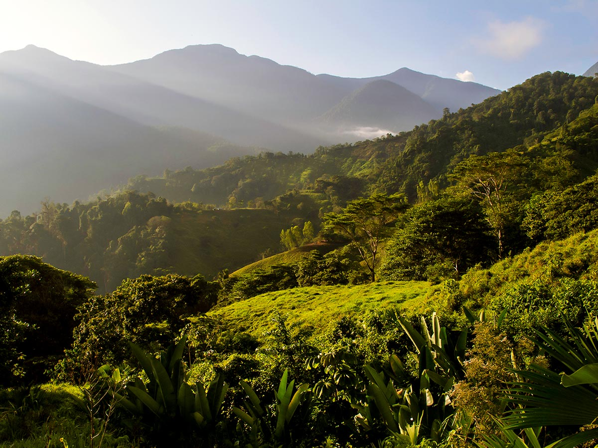 Expansive valleys of the Sierra Nevada del Santa Marta on Lost City Trek in Colombia