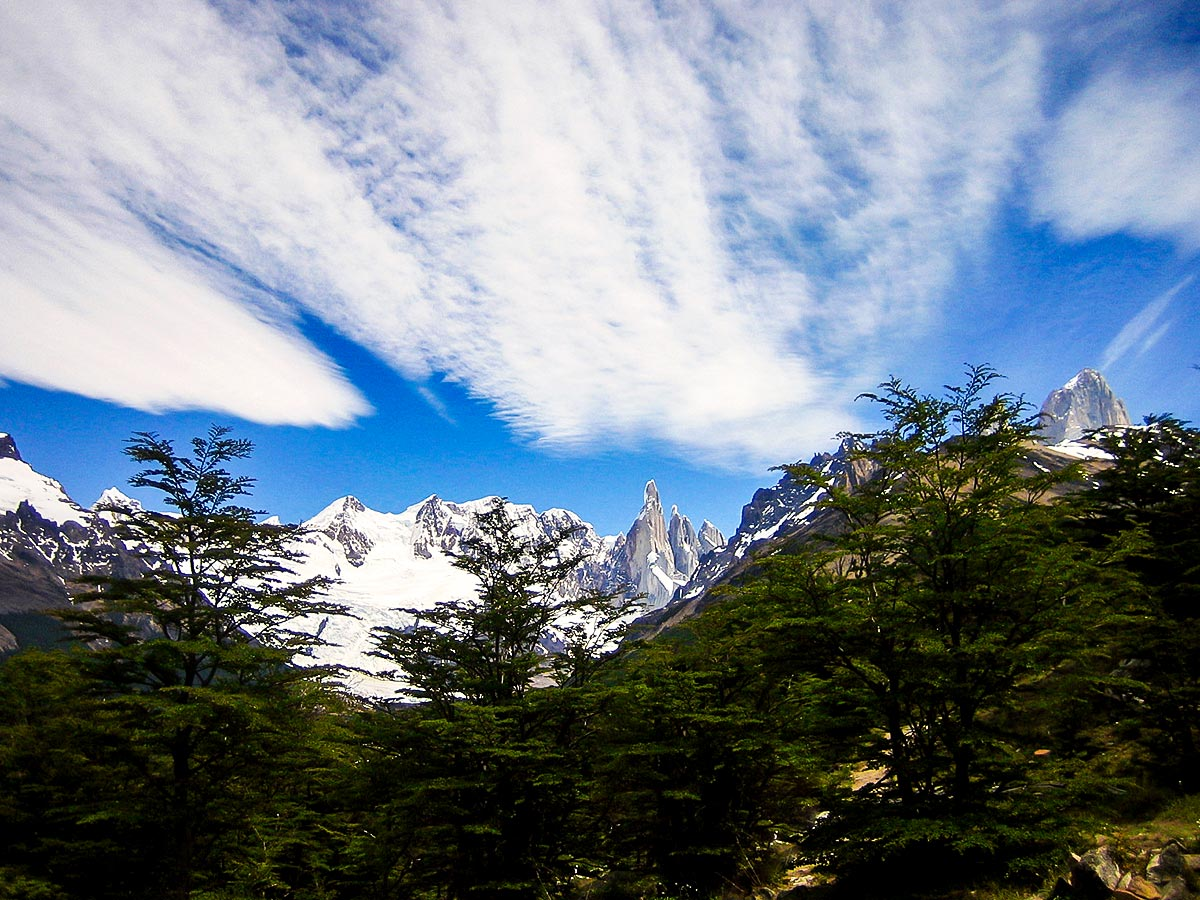 Cloudy sky above andes seen on Patagonias Icefield Trek