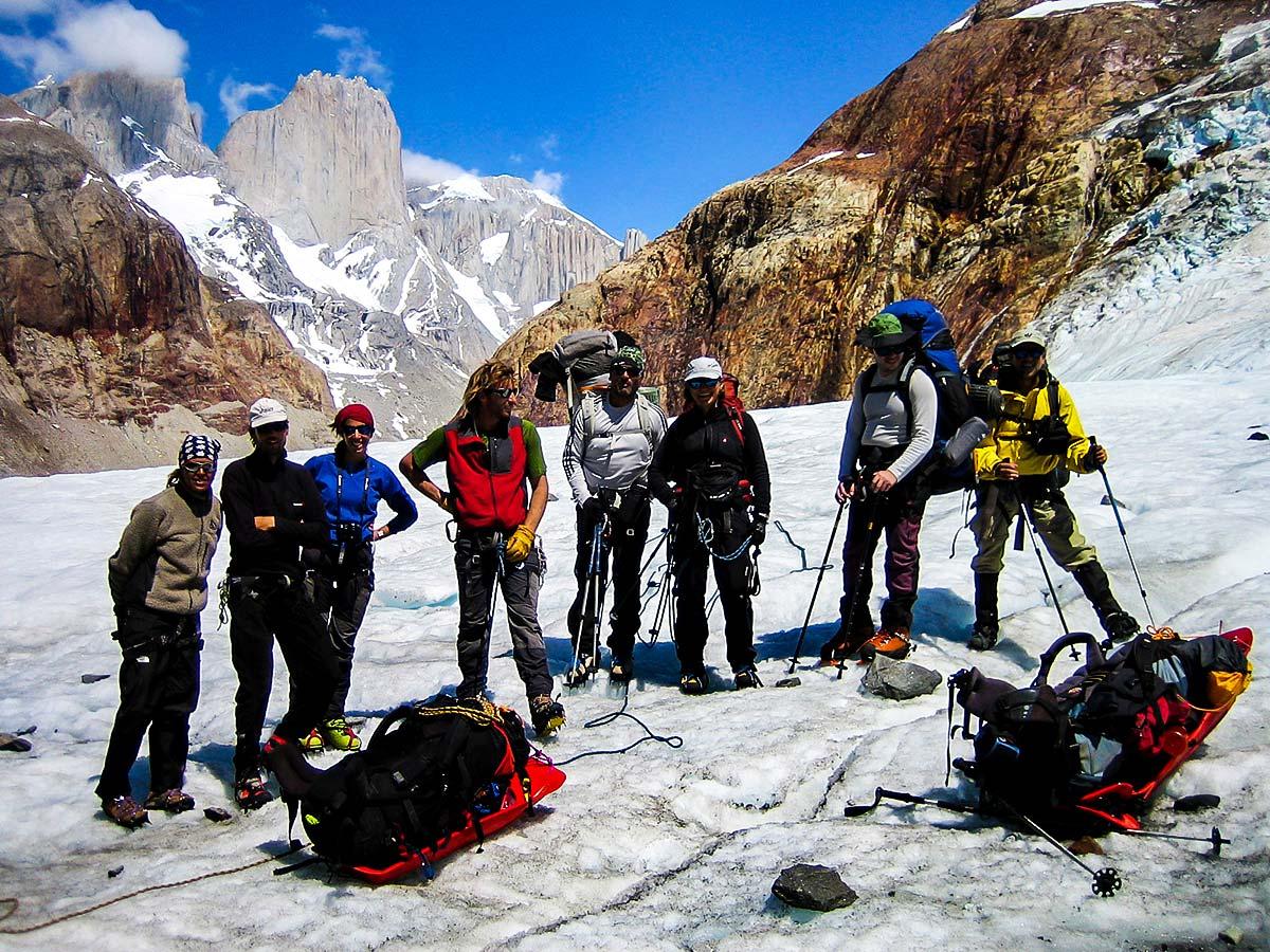 Group of trekkers resting on Patagonias Icefield Trek