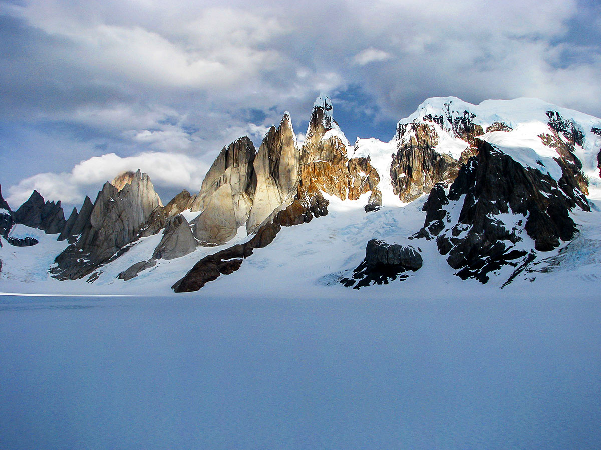 Snow covering the mountains along the Patagonias Ice Field Trek