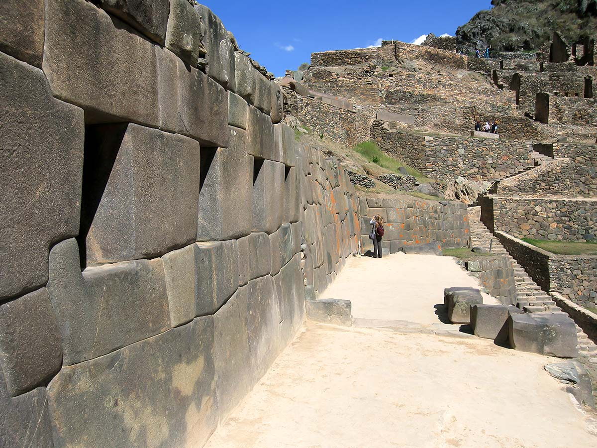 Walking through the narrow paths of Machu Piccu on Peru Ecuador Galapagos Tour