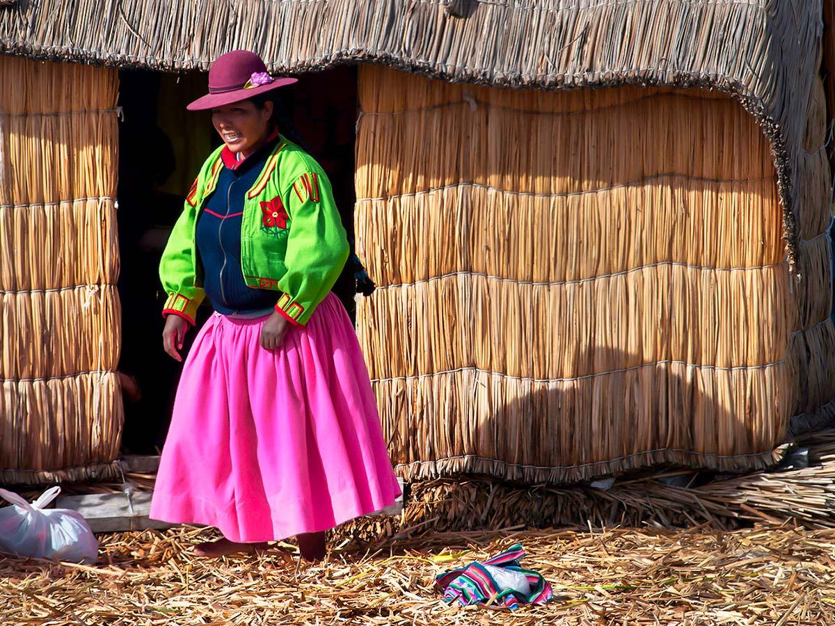 Woman wearing colorful quechua clothing on Peru Ecuador Galapagos Tour