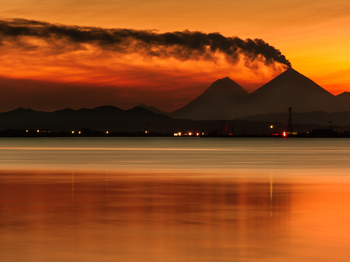 Stunning sunset over Kamchatka Peninsula seen on Classic Kamchatka Trekking Tour