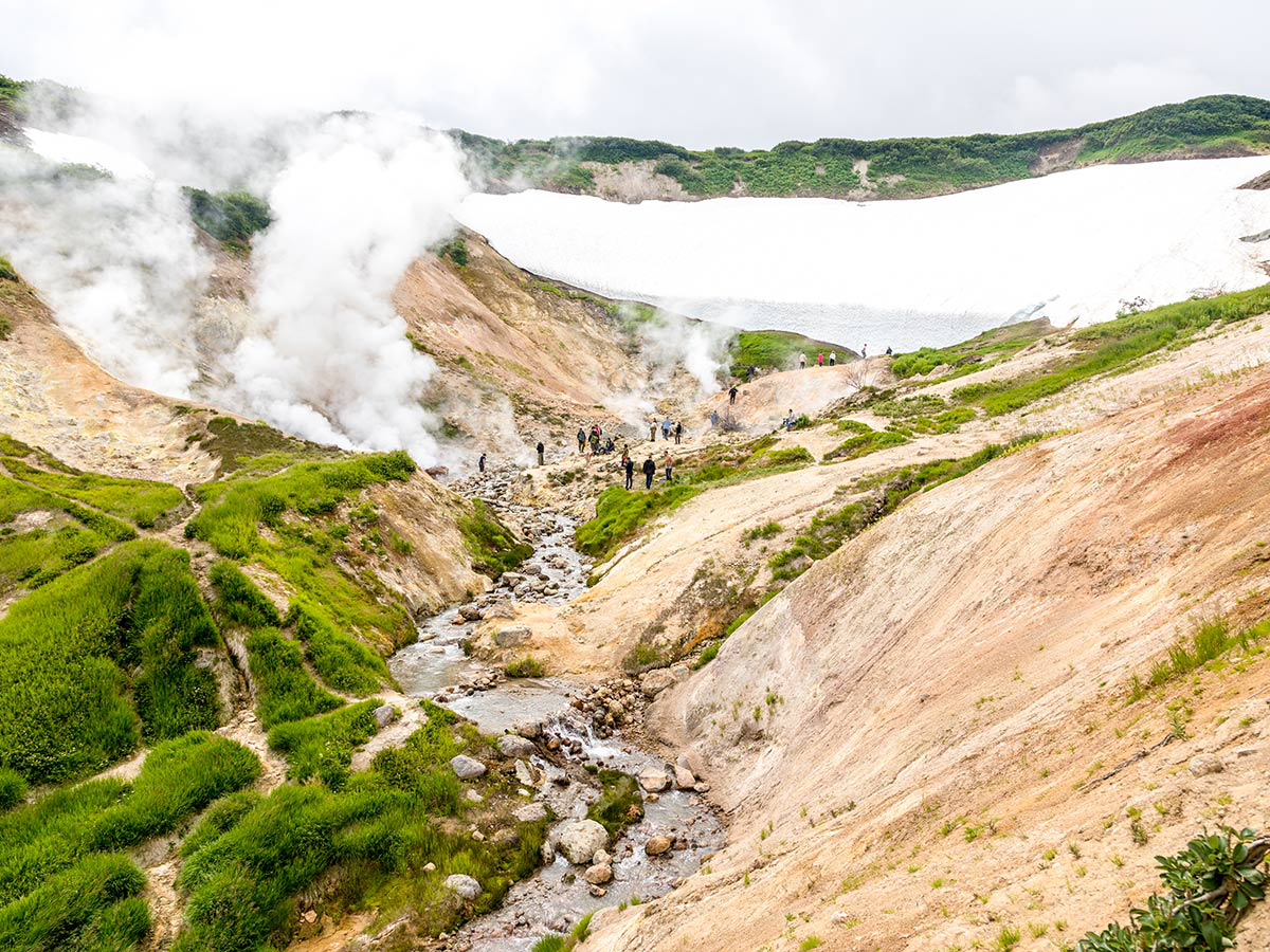 Valley of the geysers seen on guided Classic Kamchatka Tour