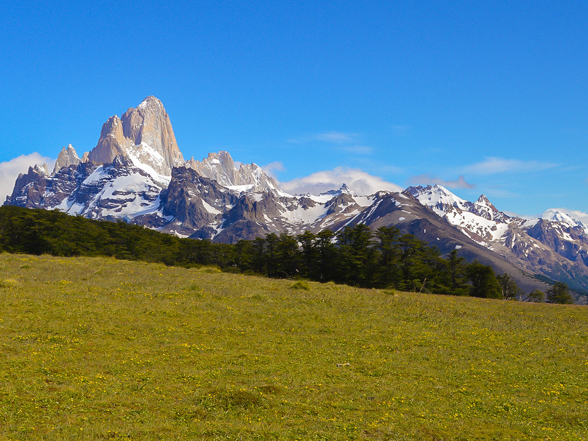 Pliegue Tumbado Trail on day 5 of Guided Full Patagonia Adventure Trekking Tour