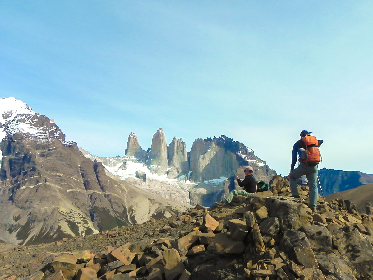 Beautiful views of Paine Towers seen on Full Patagonia Adventure Tour