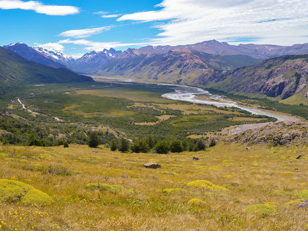 Rios de las Vueltas Valley seen on day 2 of Full Patagonia Adventure Tour