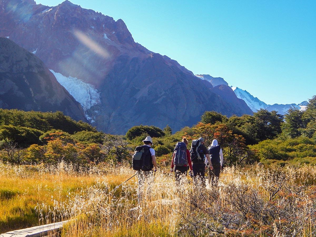 Visiting Piedras Blancas Glacier on day 3 of Full Patagonia Adventure Tour