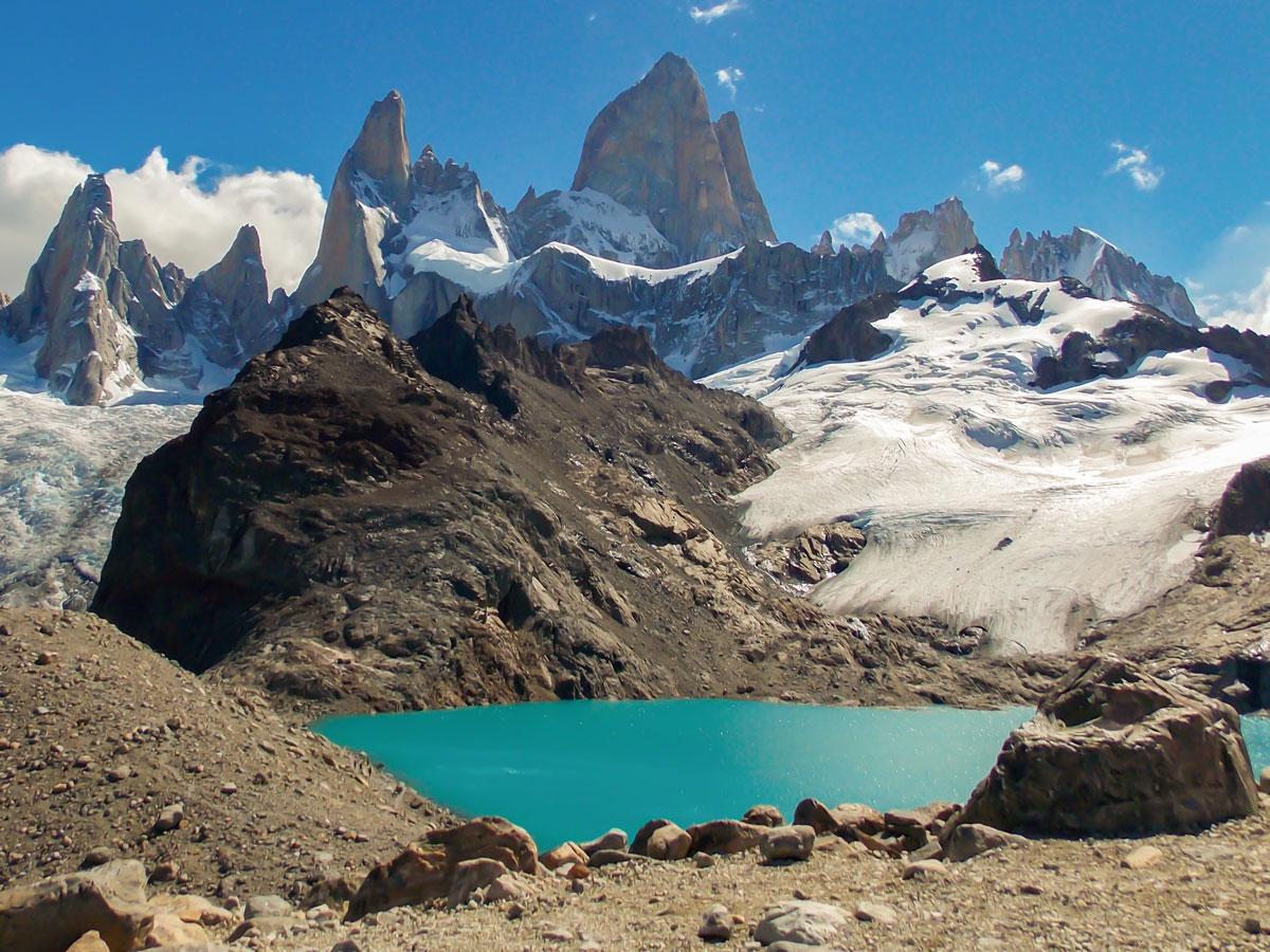 Laguna de los Tres seen on Full Patagonia Adventure Tour with group