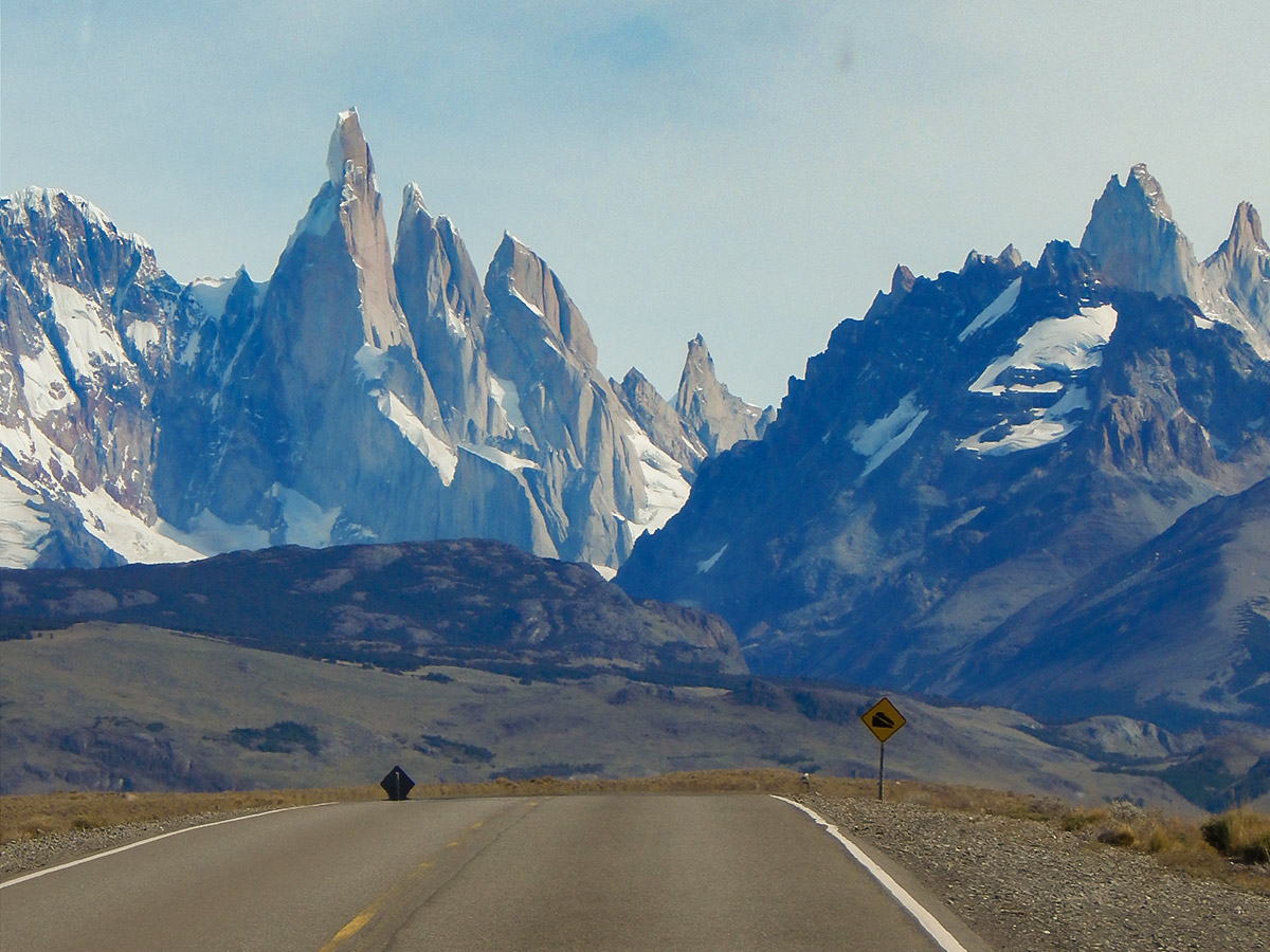 Approaching el Chalten on 2nd day of Los Glaciares and Paine Adventure in Patagonia Argentina