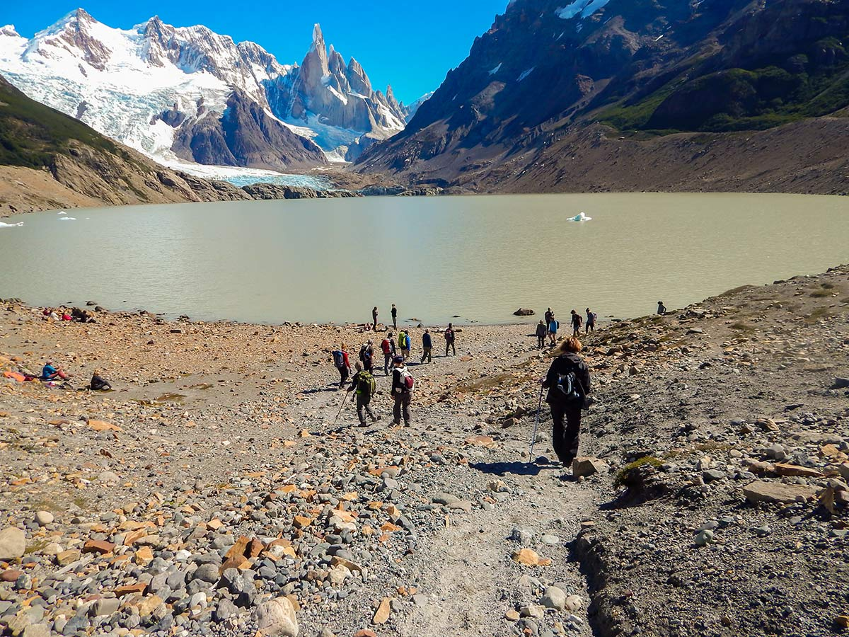 Beautiful views of Laguna Torre seen on day 4 of Los Glaciares and Paine Adventure trek with guide