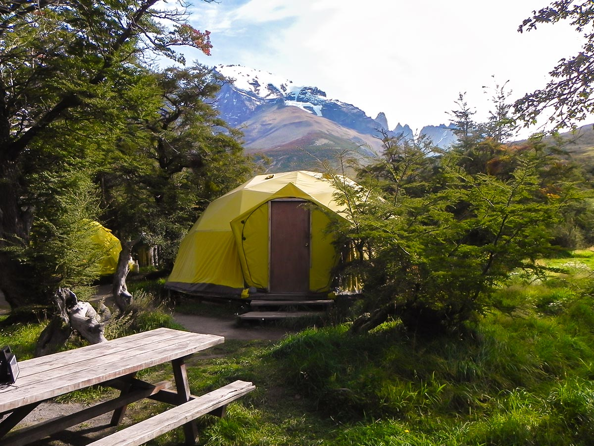 Camping in Las Torres on Guided Torres del Paine Ushuaia Adventure Tour with Group