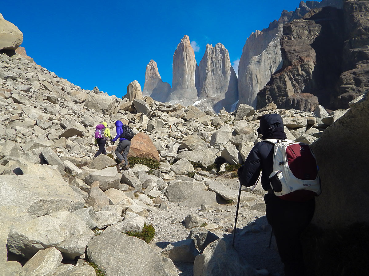 Paine Towers viewpoint along the trail of Torres del Paine Ushuaia Adventure Tour with group