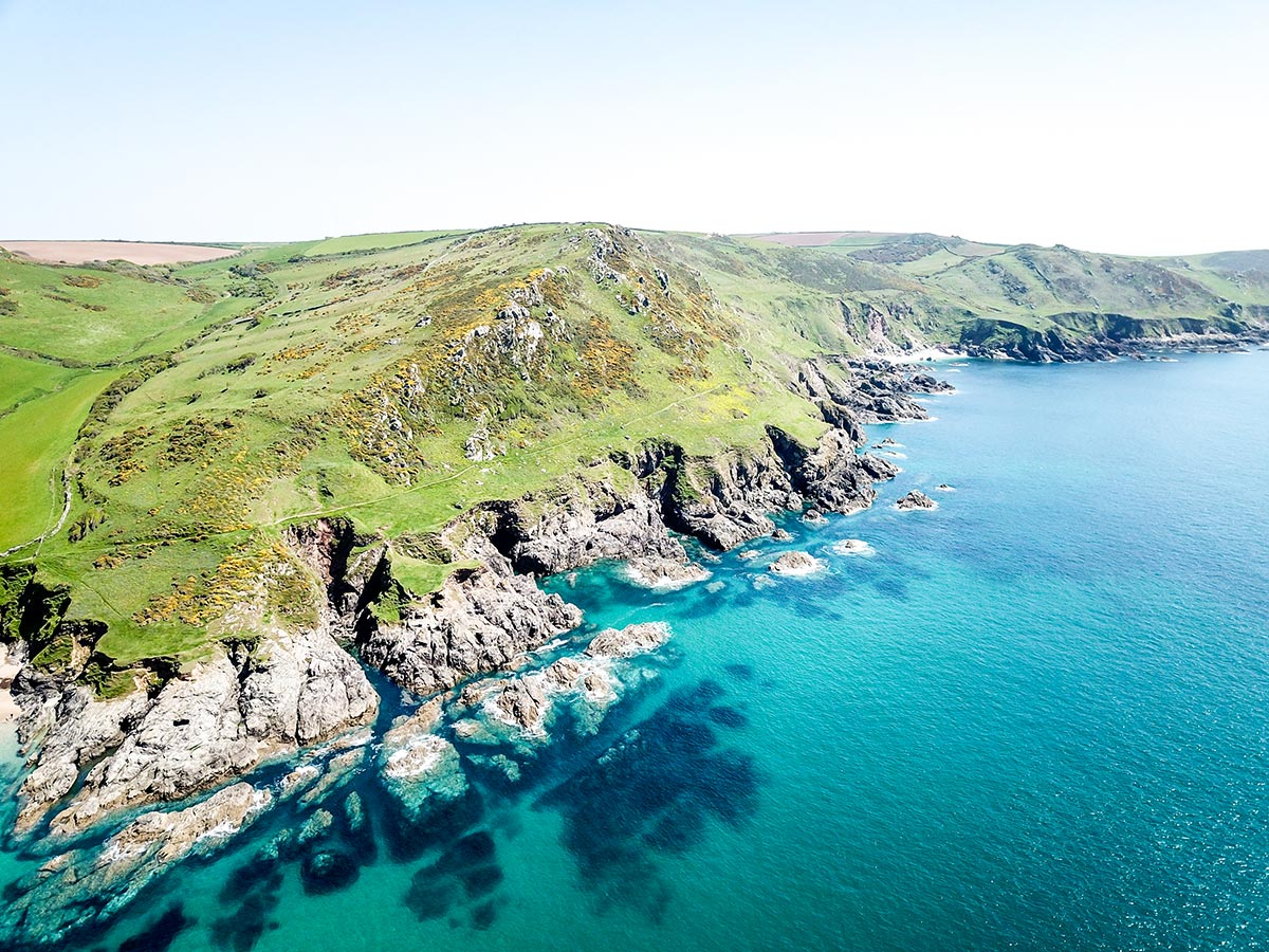 Aerial photo of the trail at Salcombe that you get to hike while on South Devon Coast