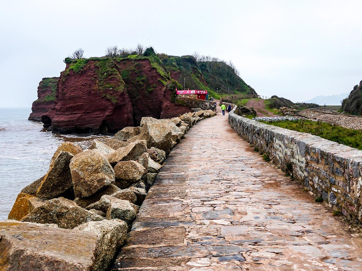 Stone wall at Dawlish seen on South West Coast Path South Devon Coast