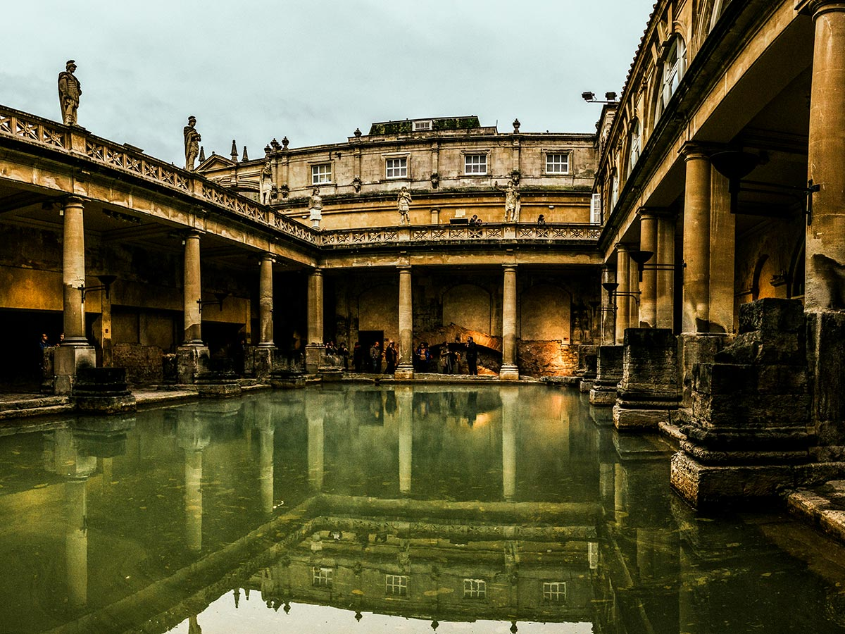 Roman Baths at Bath that you get to visit while on Stratford to Bath Cycling Tour
