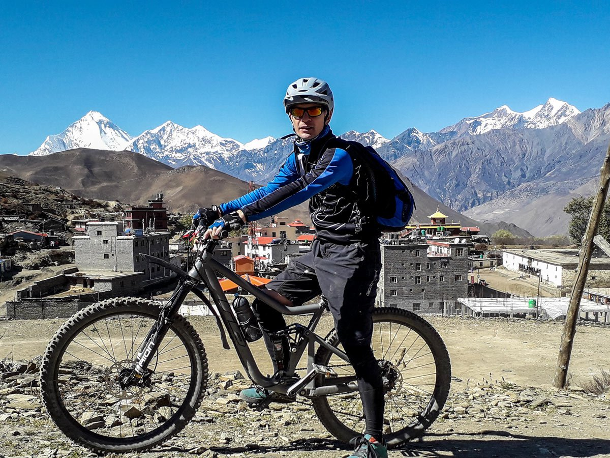 Biker posing on Annapurna Cycling tour in Nepal