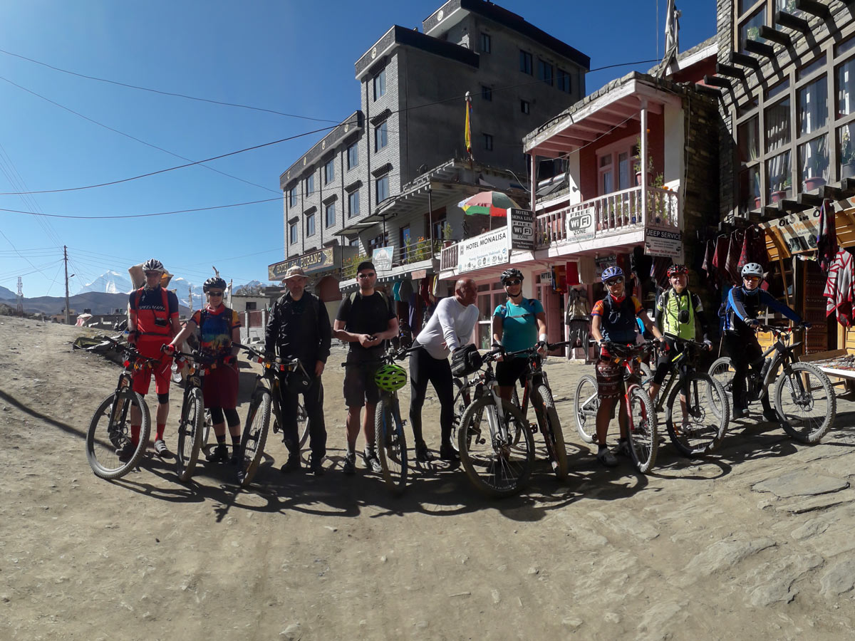 Group of bikers on Annapurna Cycling tour in Nepal