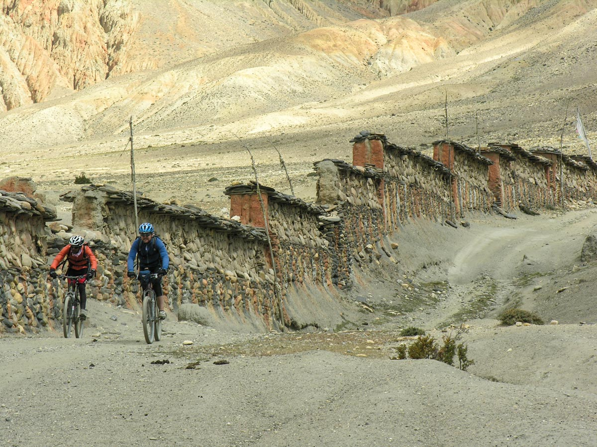Two bikers riding on Annapurna Cycling tour in Nepal