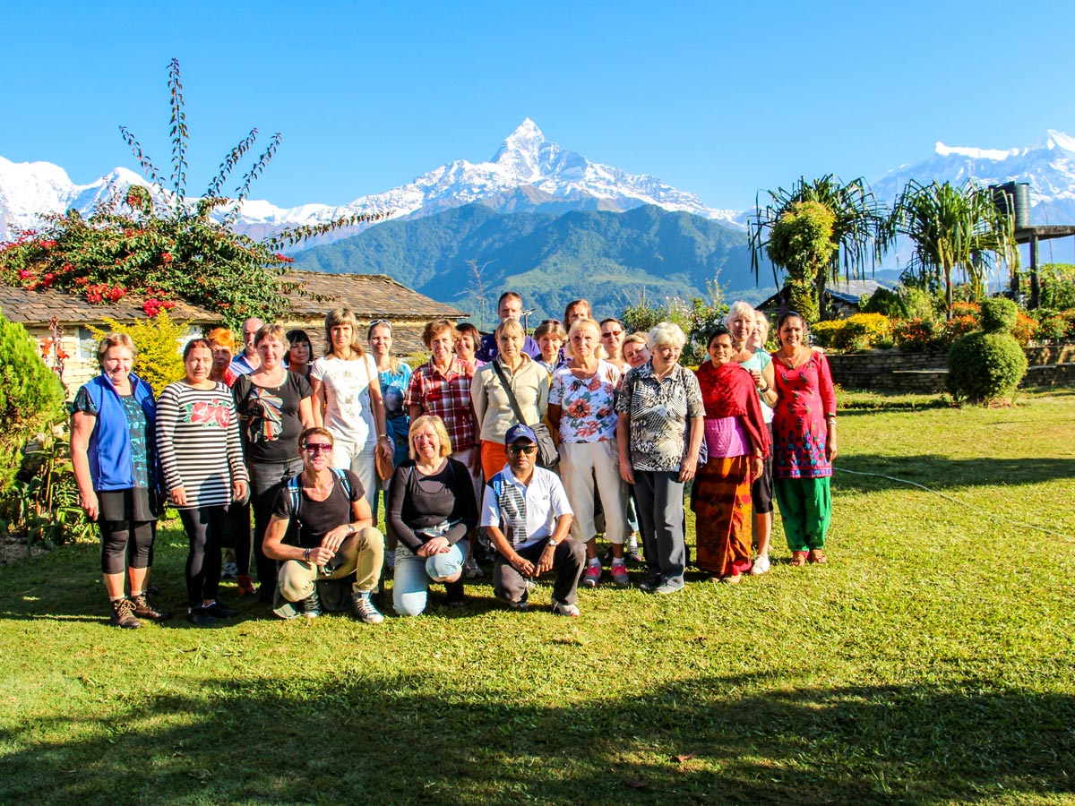 Group posing on Family Adventure Tour in Nepal