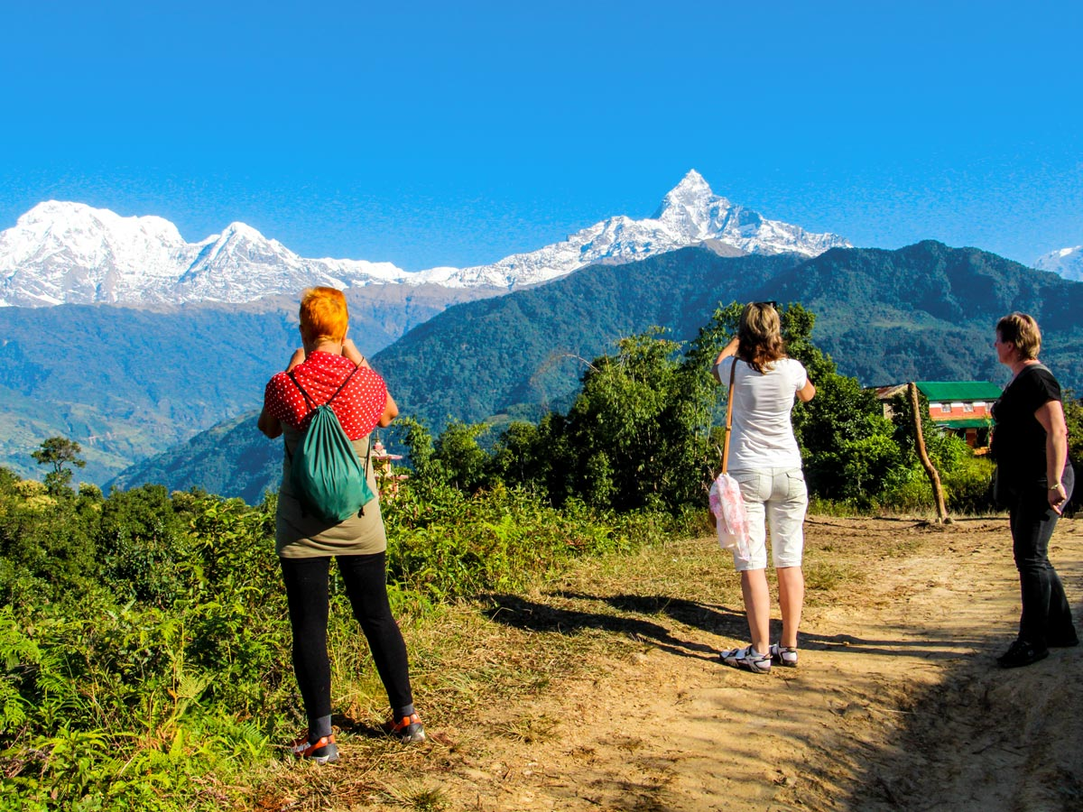 Machhapuchhre mountain on Family Adventure Tour in Nepal