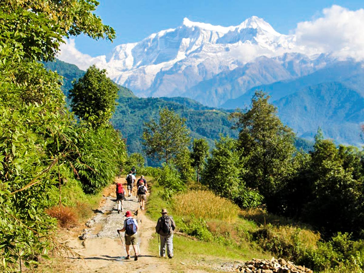 Group of hikers on Family Adventure Tour in Nepal