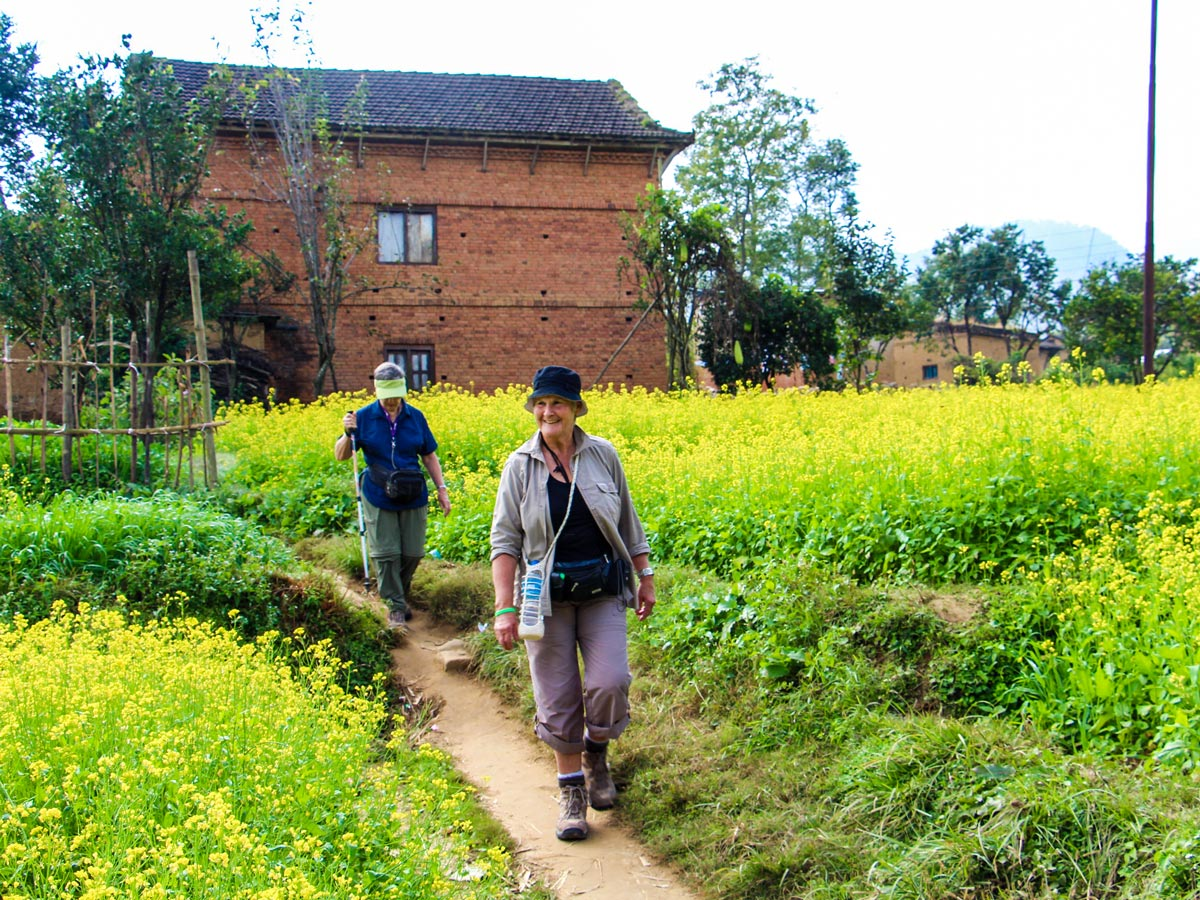Two happy hikers on Family Adventure Tour in Nepal