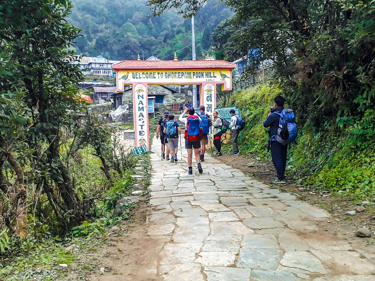Group of hikers on Ghorepani and Poon Hill trek in Nepal