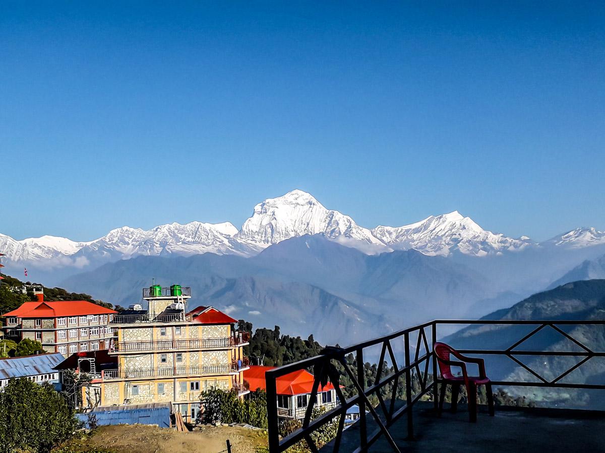 View of Annapurna Range on Ghorepani and Poon Hill trek in Nepal