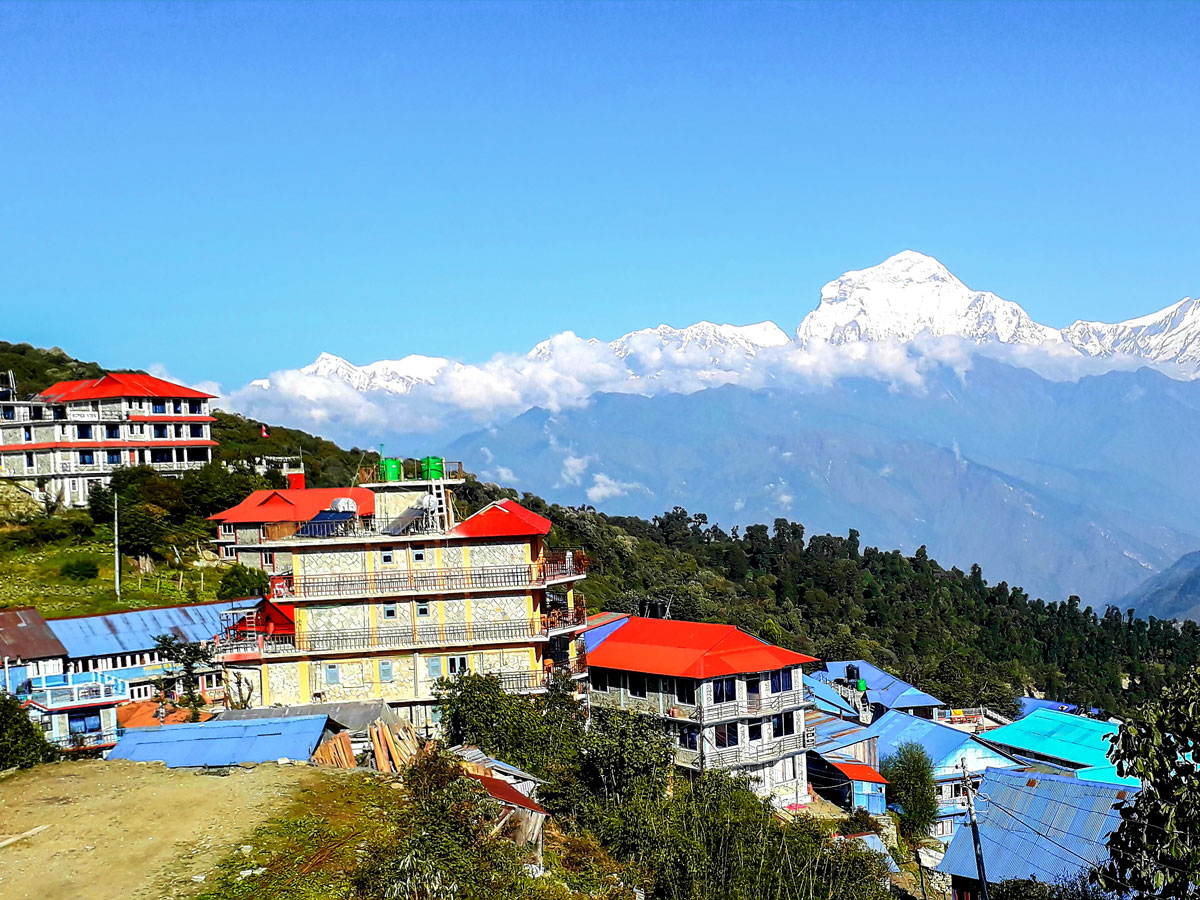 Great mountain views on Ghorepani and Poon Hill trek in Nepal