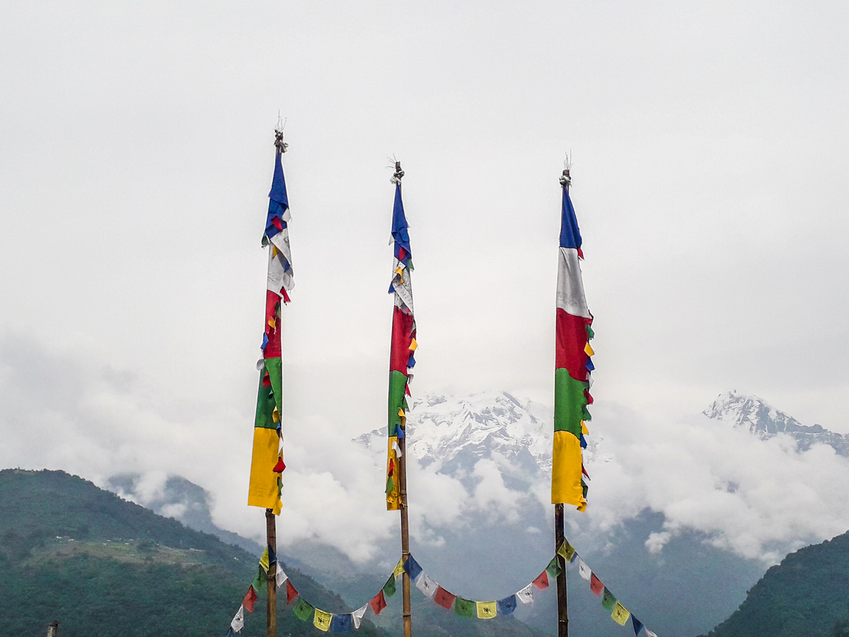 Cloudy day on Ghorepani and Poon Hill trek in Nepal