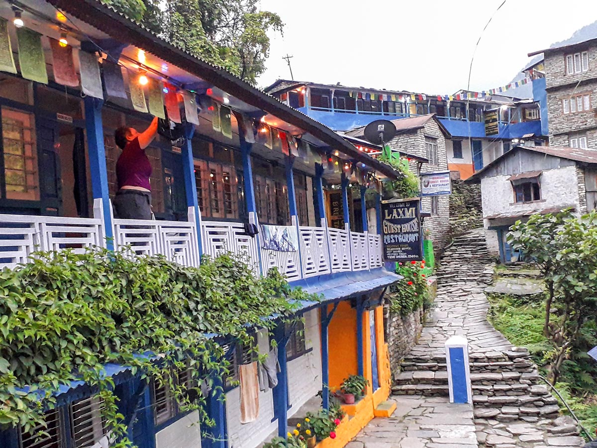 Sherpa village on Ghorepani and Poon Hill trek in Nepal
