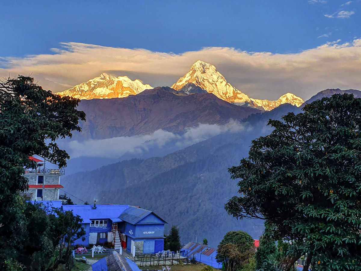 Himalayan mountains on Ghorepani and Poon Hill trek in Nepal