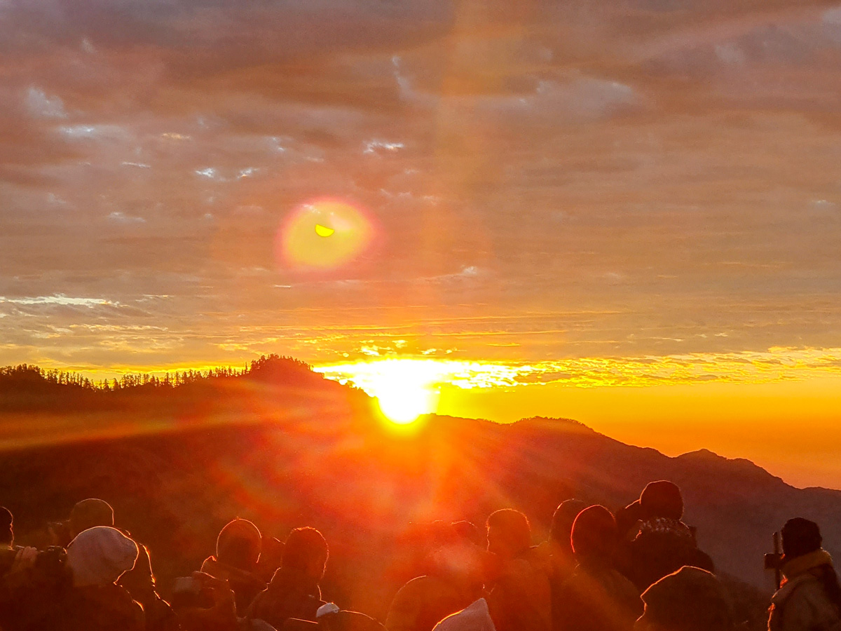 Sunset over the mountain on Ghorepani and Poon Hill trek in Nepal